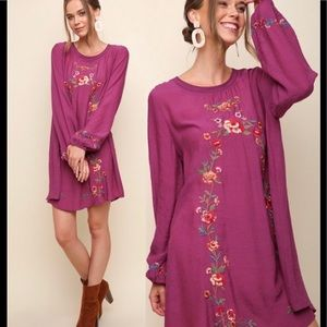 Umgee Magenta Floral Embroidered Tunic Dress Sz Sm